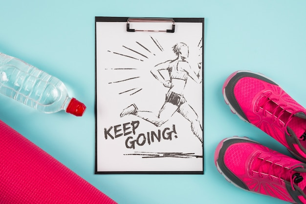 Clipboard mockup with fitness concept