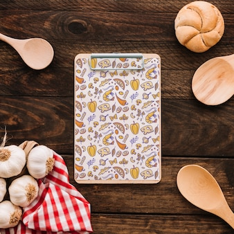 Clipboard mockup with food concept