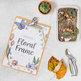 Clipboard mockup with gardening concept