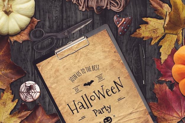 Clipboard mockup with halloween design