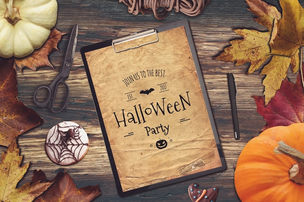 Clipboard mockup with halloween design