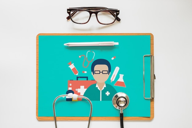 Clipboard mockup with health concept