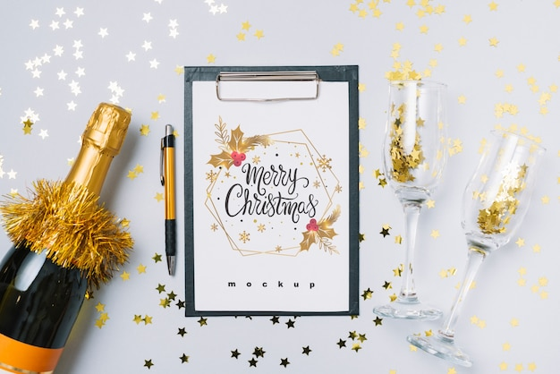 Clipboard mockup with new year decoration