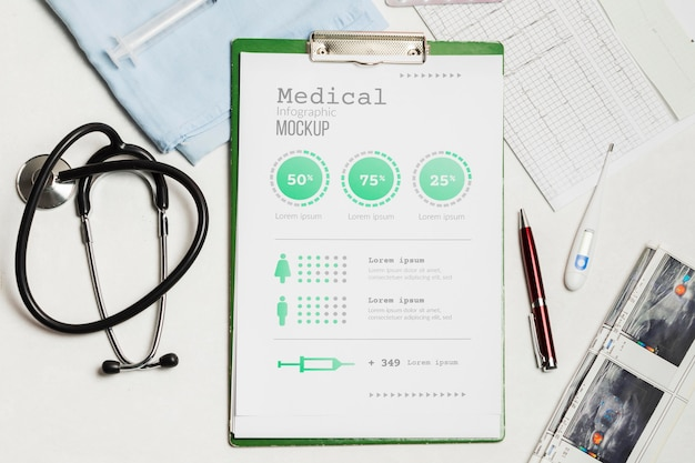 Clipboard with medical elements mock-up