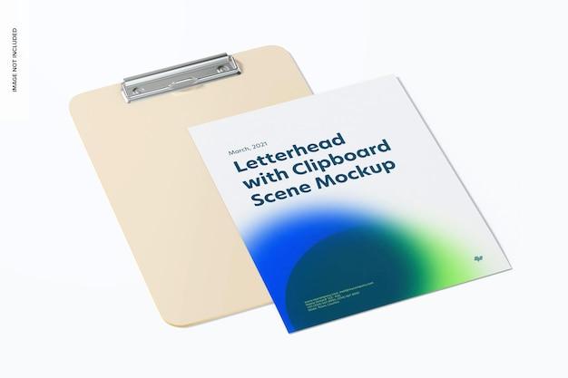 Буфер обмена с макетом листа бумаги, вид сверху