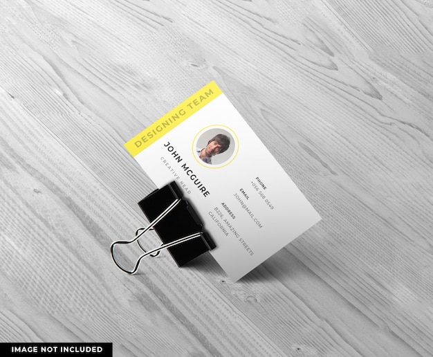 Clipped business card design mockup