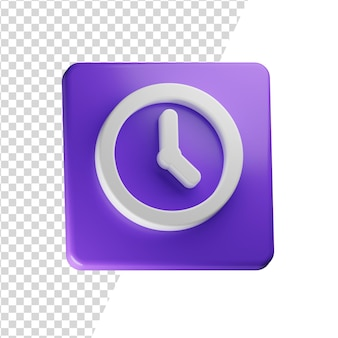 Clock 3d icon rendering isolated concept