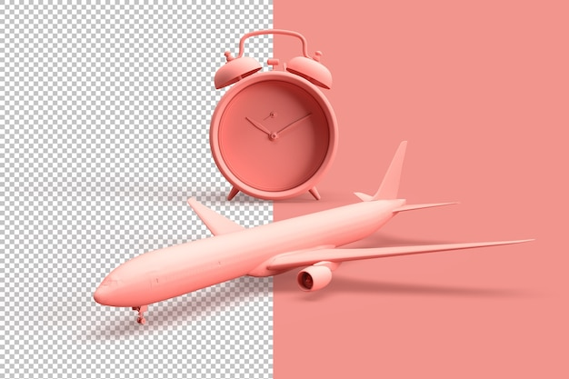 Clos up on alarm clock and airplane as a travel concept