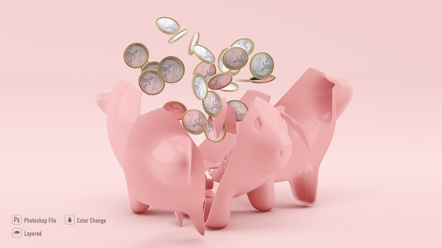 Close u pon savings pig mockup with coins isolated