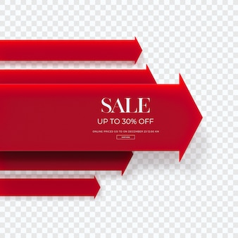 Close up on 3d red sale diagram isolated