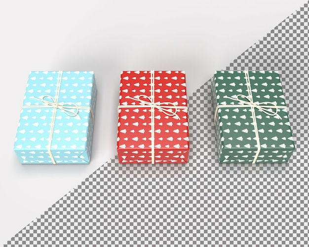 Close up on 3d render gift box for merry christmas