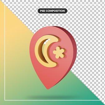 Close up on 3d rendering concept minimal pin location and crescent