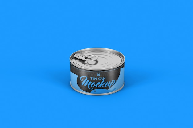Close up on aluminum can for food mockup