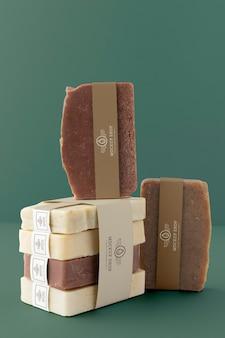 Close up on artisan soap packaging mockup