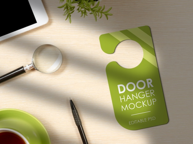 Close up on awesome door hanger mockup
