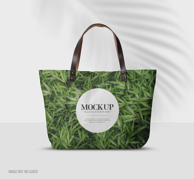 Close up on bag mockup on table isolated