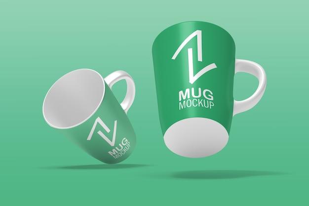 Close up on beautiful double mugs mockup isolated