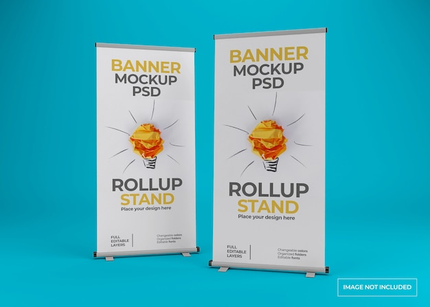 Close up on beautiful rollup stand banner mockup