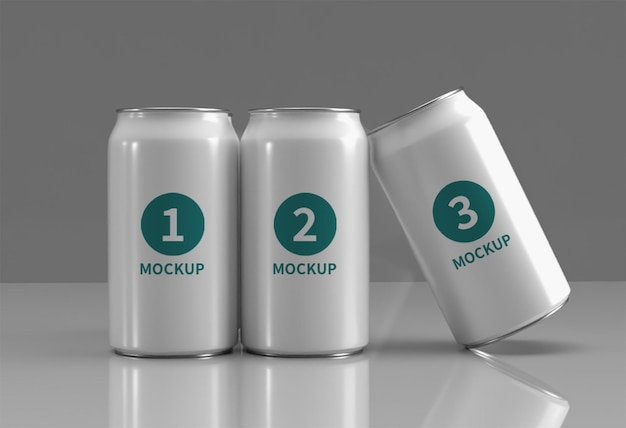 Close up on beverage can mockup