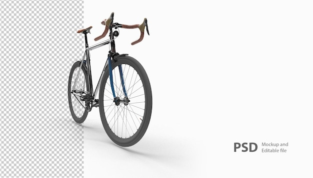 Close up on bicycle in 3d rendering isolated