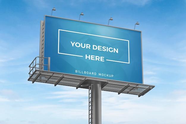 Close up on billboard mockup on blue sky