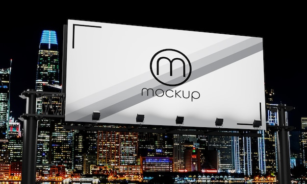 Close up on billboard mockup design night city light