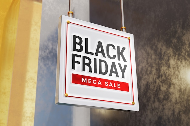 Close up on black friday concept sign mockup