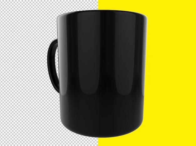 分離された黒いマグカップのレンダリングをクローズアップ