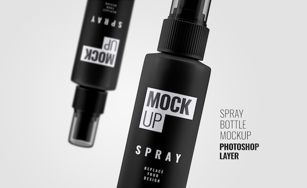 Close up black spray mockup 3d rendering