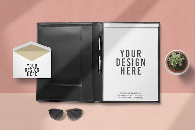 Close up on blank portfolio mockup design