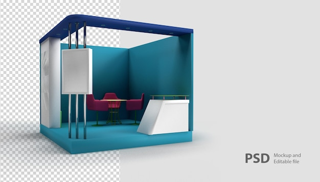 Close up on booth exhibition in 3d rendering isolated