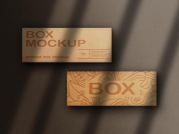 Крупным планом макет коробки с тиснением, вид сверху