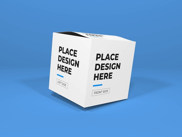 Close up on box packaging mockup isolated