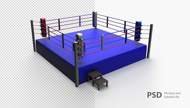 Close up on boxing ring rendering