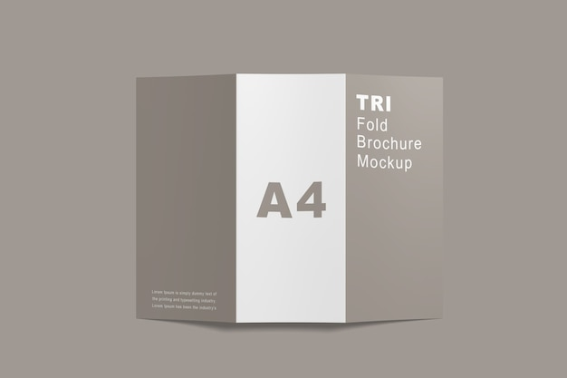 Close up on brochure trifold mockup isolated