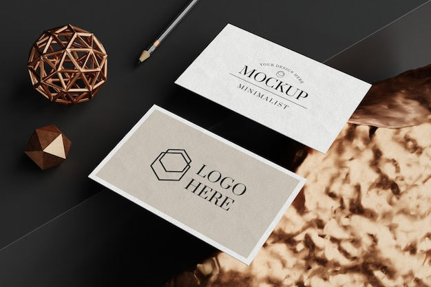 Close up on business card mockup
