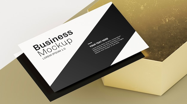 Close-up business card with shadow