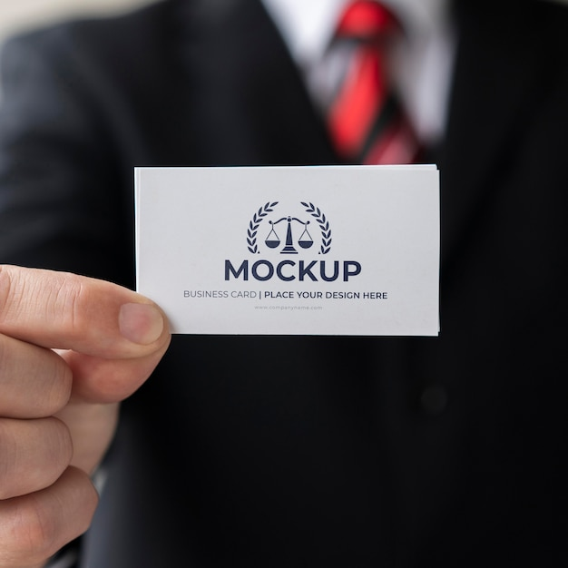 Close-up businessman holding business card mock-up