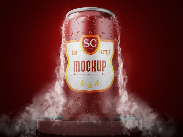 Close up on can mockup with smoke isolated