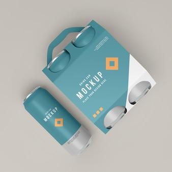 Primo piano sul modello di imballaggio della lattina