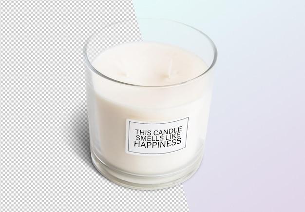 Close up on candle label mockup design