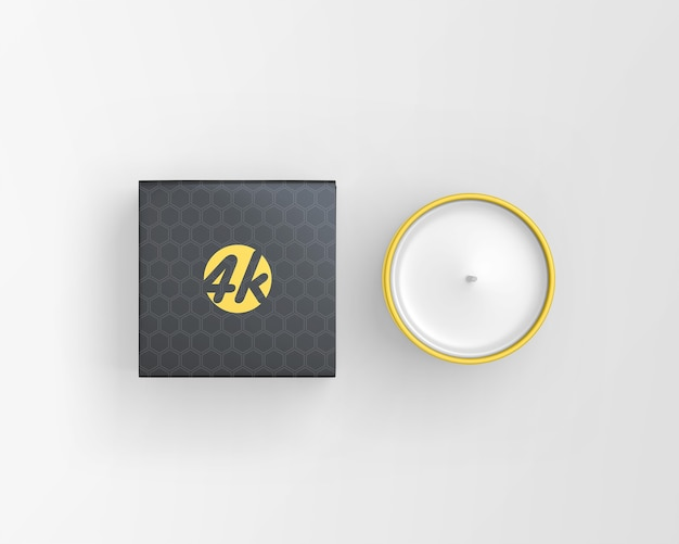 Close up on candle with candle box mockup