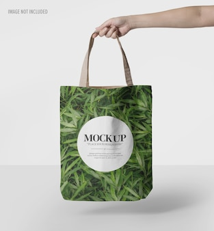 Close up on canvas tote bag mockup isolated