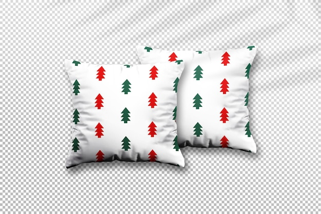 Close up on christmas pillow mockup design with palm leaves shadow