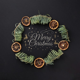 Close-up christmas wreath concept