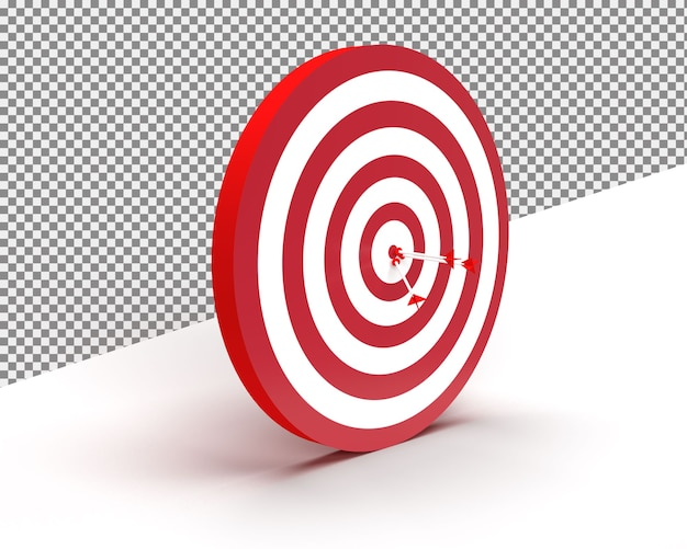 Close up on classic bullseye darts isolated