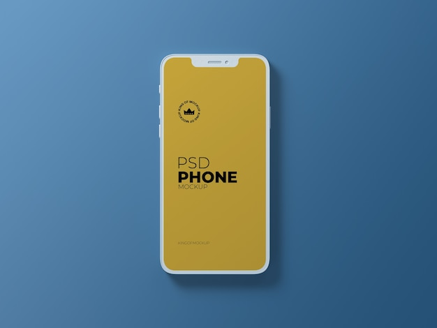 Close up on clay phone mockup isolated