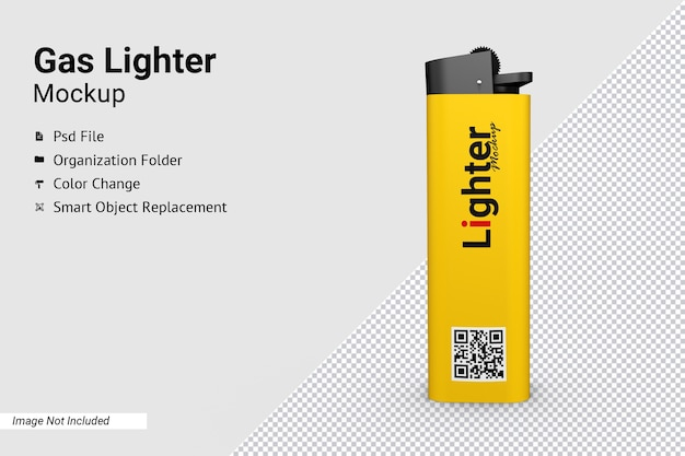 Close up on close up on gas lighter mockup isolated
