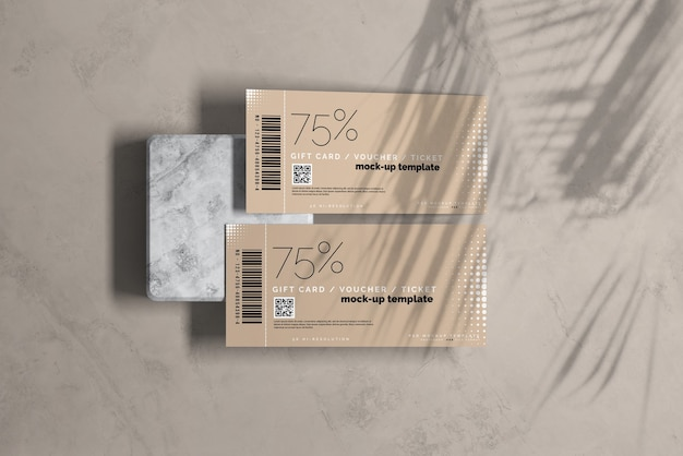 Close up on close up on voucher or ticket mockup
