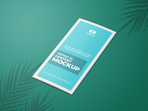 Close up on closed trifold leaflet mockup